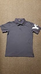 Yohji Yamamoto Y-3 Menandrsquos Solid Blue Polo-rugby Cotton 3 Button Front Shirt Sz_l