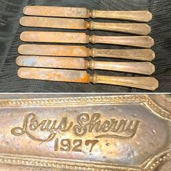 Rare Lot Of 6 Atq 1927 Louis Sherry Silverplated 7.5andrdquo Knifes Knives Vtg Butter