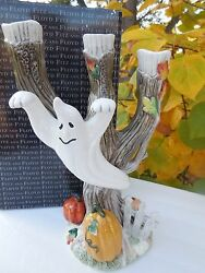 New Fitz And Floyd Halloween Harvest Ghost Candleholder