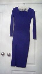 Ladies Long Ribbed Navy Blue Bodycon Dress By Boohoo. Size 10 Front Split