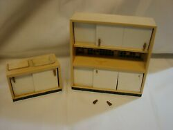 Vintage Lundby Two Piece Kitchen Cabinet With Countertop And Wash Sink Cabinet