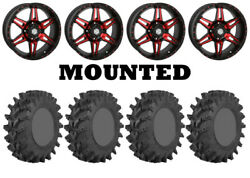 Kit 4 Sti Outback Max Tires 32x9.5-14/32x10-14 On Sti Hd7 Red Wheels Can