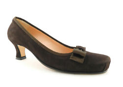 Anyi Lu Size 8 Brown Suede Pleated Toe Heels Pumps Shoes W/ Bow 38 1/2 Eur