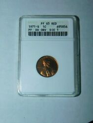 1971-s Proof Double Die Type 1 Lincoln Cent Anacsold Holder Certified Pf-65