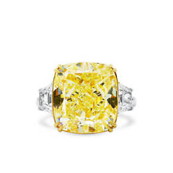 Fancy Light Yellow Diamond Ring 16.34 Ct Cushion Cut Natural 18K White Gold GIA