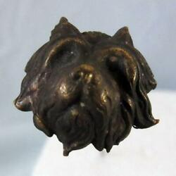 ANTQ ORNATE VICTORIAN HIGH RELIEF TERRIER DOG HEAD HATPIN METAL 9