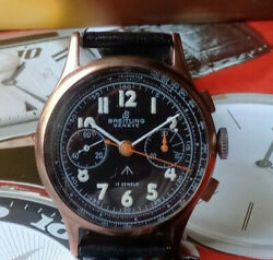 Antique Breitling Chronograph Wwii Military Watch Swiss Made Gold Plaque And S/s
