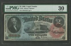 Fr42 2 1869 Legal Tender Rainbow Note Pmg 30 Choice Vf Wlm9183