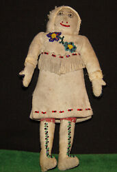 Antique 1800's Native American Indian Doll Athabascan, Tlingit Leather And Calico