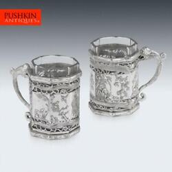 Antique 19thc Chinese Export Solid Silver Tea Glass Holders Shanghai C.1880