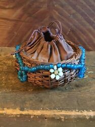 Antique Wicker Sewing Basket With Glass Bead Garland Cloth Drawstring Top