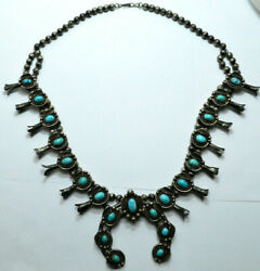 Navajo Sterling Silver Southwest Turquoise Squash Blossom Necklace Bench Bead