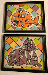 2 Framed Fabric Prints Patchwork Walrus And Whale. 8x10 Frames. Cute Decor