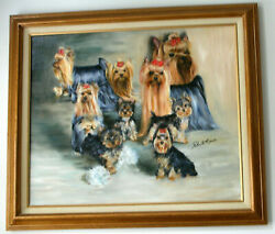 Yorkshire Terrier group  original oil painting