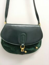 Vintage Green Suede Bag Made in Italy Suede Lining Italian Designer Handbag MINT