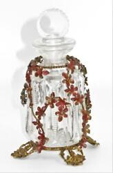 Antique Footed Perfume Bottle W/brass Overlay Filigree Floral And Cut Crystal 6