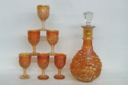 Imperial Grape Style Marigold Carnival Glass Decanter And 6 Cordial Cups 1539b