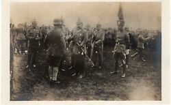 Antique Real Photo Rppc Post Card German French Military W/ Spiked Helmets