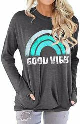 Nlife Women Good Vibes Blouse Hoodies Long Sleeve Casual Fall Tops Graphic Tee S