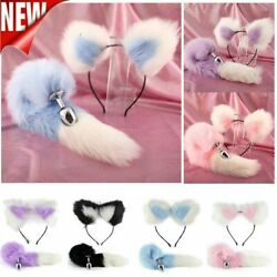 False Fox Tail And Ears With Metal Anal-Butt Plug Romance Game Funny Cosplay Toy