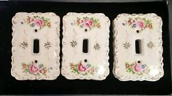 9 Vintage Betson Hand Painted Porcelain Light Switch Covers