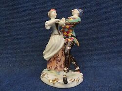 Porcelain Group Old Volkstedt Harlequin And Columbine Italian Comedy Commedia