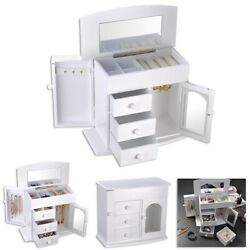 Jewelry Box Case Built in Mirror Ring Earring Necklace Organizer Storage White