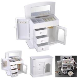 Jewelry Box Case Built in Mirror Ring Earring Necklace Organizer Storage White $34.90