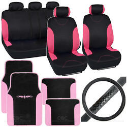 Bucatti 14 Pc Set - 2 Tone Black / Pink Car Seat Cover, Mat And Steering Cover