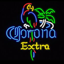 Neon Signs Gift Corona Extra Parrot Beer Bar Pub Store Party Room Display 24x20