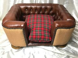 1 Original Rare Small Handmade Chesterfield Tan Leather Tartan Pet Cat Dog Bed
