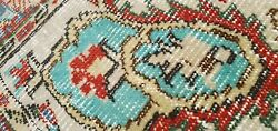 Primitive Antique 1930-1940and039s Wool Pile Teal Blue Oushak Area Rug 4and03910andtimes8and0396