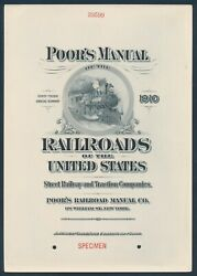 Poor's Manual Of The Railroad Specimen Advt Page Proof At Top Xf Scarce Bv394