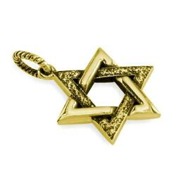 Large Jewish Star Of David Charm With Black Stone Design In 14k Yellow Gold