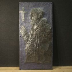 Sculpture High Relief Religious Padre Pio Sacred Art In Painted Metal Signed