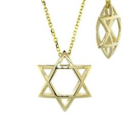 21mm 3d Open Domed Jewish Star Of David Charm And 16 Inch Chain In 14k Yellow Go