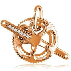 Extra Large Bicycle Crank Pendant with Cubic Zirconias Bike Sprocket Wheel in 1