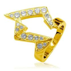 Large Designer Cubic Zirconia Ring in 18k Yellow Gold 25mm Wide