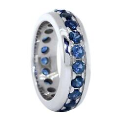 Mens Blue Sapphire Eternity Band 2.90ct In 14k White Gold