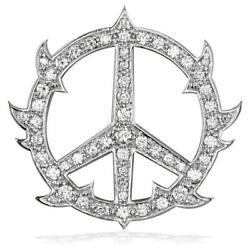 Large Diamond Guarded Peace Sign Charm 1.75ct 1 1/4 Inch In 14k White Gold