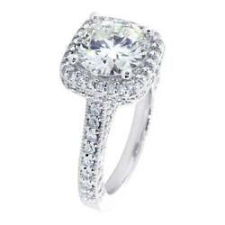 Vintage Look Halo Engagement Ring Setting For A Round Diamond, 1.00ct Total Side