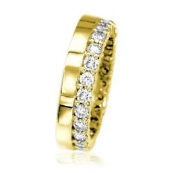 Diamond Eternity Band And Plain Band Ring1.25ct In 14k Yellow Gold