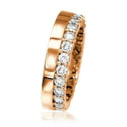 Diamond Eternity Band And Plain Band Ring1.25ct In 14k Pink Rose Gold