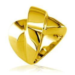 Large Cross Over Ring In 18k Yellow Gold