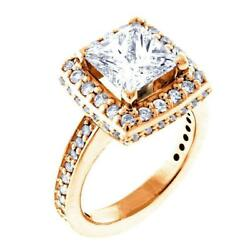 Halo Engagement Ring Setting For A Princess Cut Diamond 0.86ct Sides In 14k Pin