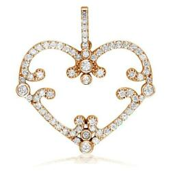 Vintage Style Open Diamond Heart Pendant, 1.08ct In 14k Pink, Rose Gold