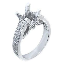 Engagement Ring Setting For A Round Diamond Center, 1.0ct Sides In 14k White Gol