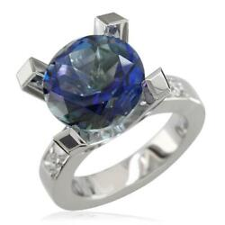 Large Round Peacock Topaz And Diamond Right Hand Ring 0.60ct Diamonds In 14k Wh