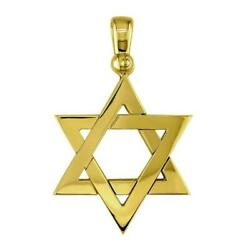 Mens Large Jewish Star Charm In 18k Yellow Gold