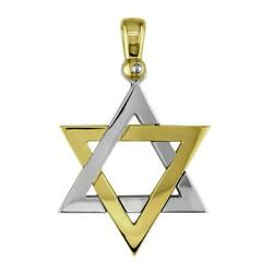 Mens Large Jewish Star Of David Charm In 14k Yellow And 14k White Gold